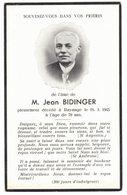 GENEALOGIE IMAGE SOUVENIR MORTUAIRE FAIRE PART DECES Jean BIDINGER HAYANGE MOSELLE - Overlijden