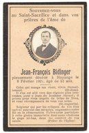 GENEALOGIE IMAGE SOUVENIR MORTUAIRE FAIRE PART DECES Jean François BIDINGER HAYANGE MOSELLE - Overlijden