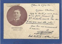 Autographe Signature à L'encre Sur Carte Postale DORNEVAL Cirque Circus - Autographes