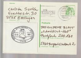 B 747) BRD 1982 MW Stempel 7505 Ettlingen; Aufgeklebt: SSt 1983 Sibylla-Tage - Ferien & Tourismus