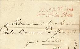 1830- Lettre De La Direction Des Postes Au Sujet De La Création D'une Boite Rurale à Grimaud  ( Var ) - Poststempel (Briefe)