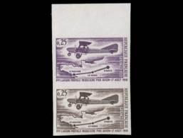 FRANCE Poste  Yvert: 1565 Paire D'essais En Lilas Et Brun: 1ère Liaison Postal Aérienne - Essais