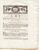 LOI Qui Fixe Le Prix Du Transport Des LETTRES, Paquets... Par La POSTE Du 22 Août 1791 - Décrets & Lois