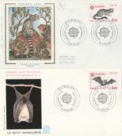 France EUROPA CEPT 2 Enveloppes FDC 1986 Paris Animaux Genette Chauve Souris Illustration 3 - Europa-CEPT