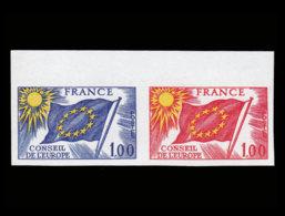 FRANCE Service  Yvert: 49 Paire D'essais Bicolore, Bdf: 1.00 Conseil De L'Europe - Proofs