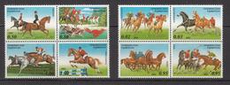 2002 Tajikistan Year Of The Horse Set Of 2  Blocks Of 4 MNH - Tayikistán