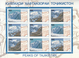 1997 Tajikistan Mountains Miniature Sheet Of 9 MNH - Tadjikistan