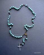 Chapelet 31 Cm - Perles Verre Bleu - Religion & Esotericism