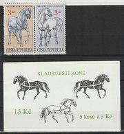 MiNr. 122 + MH 36, Tschechische Republik: 1996, 25. Sept. Kladruby-Pferde. - Tschechische Republik