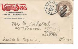 ENTIER 5 CENTS  VOYAGE CHICAGO  AVEC ENTETE PUB - Postal Stationery