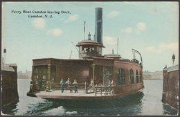 Ferry Boat Camden Leaving Dock, Camden, New Jersey, 1913 - Postcard - Camden