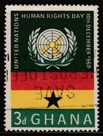 Ghana 1960 Human Rights Day 3 P Multicoloured  SW 91 O Used - Ghana (1957-...)