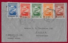 MOZAMBIQUE  5 TIMBRES SUR  ENVELOPPE DE 1939 POUR LA  SUISSE - 1910-... Republik