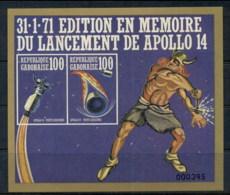 Gabon 1971 Apollo 14 Space Mission MS IMPERF Gold Frame Limited EditionMUH - Gabon