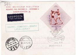 M348 XXVI. Jour Exposition Philatélique 1953 Budapest - Szombathely - Budapest Flight - Airmail