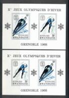 Rwanda 1968 Winter Olympics Grenoble 2xMS MUH - Rwanda