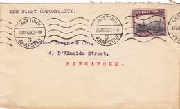 Lettre Capetown Kaapstad South Africa Afrique Du Sud 1929 Singapore Singapour - Zuid-Afrika (...-1961)