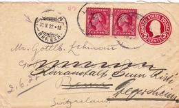 Entier Postal Big Creek USA 1922 Suisse Bern Degersheim - Postwaardestukken