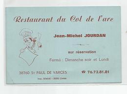 Carte De Visite St Saint Paul De Varces 38 Isère Restaurant Du Col De L'arc - Cartes De Visite