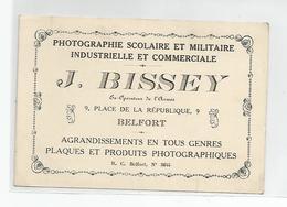 Carte De Visite  Belfort 90 - Bissey Photographie Scolaire Et Militaire Industrie Et Commerciale 9 Place République - Cartes De Visite