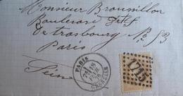 R1712/25 - LETTRE PARTIELLE - NAPOLEON III Lauré N°28B - PARIS GRENELLE / GC 1715 - INDICE 3 / 18 FEV 1870 > PARIS - 1863-1870 Napoléon III. Laure