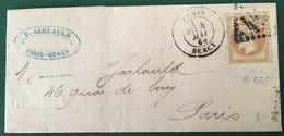 France - N°28A - Lettre Paris Bercy Pour Paris - GC 445 - (F148D) - 1863-1870 Napoleon III With Laurels