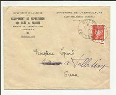 23 . GUERET  . ENVELOPPE COMMERCIALE 1940 .   MINISTERE DE L AGRICULTURE . RAVITAILLEMENT GENERALE - 1921-1960: Periodo Moderno