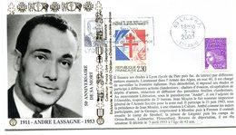 Résistance Et Déportation - Flamme Lyon - André Lassagne Du 3 Avril 2003 - X 426 - WW2