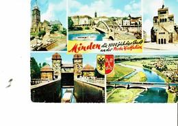 GERMANY 1961 -  POSTCARD MINDEN - 1000 JAREIGE STADT  - 5 VIEWS -SHINING - MAILED 7.10.1961 - POST7432/1 - Minden