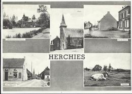 HERCHIES - Carte Multi-vues - Rue Du Calvaire, Château-fort, Rue Valère Letot, Eglise, Etc... - Jurbise