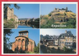 CPM-12-ESPALION -4 Vues - Le Palais, Le Pont Vieux,Château De Calmont-d'Olt, Eglise Romane Et Tanneries *SUP** 2 SCANS - Espalion