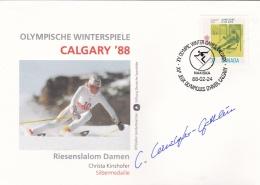 Canada Cover 1988 Calgary Olympic Games - Slalom Women Christa Kinshofer Silver Signature  (G95-5) - Winter 1988: Calgary