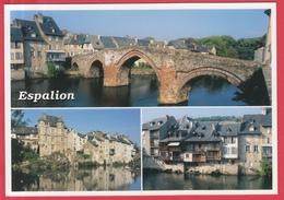 CPM-12-ESPALION -3 Vues- Pont-Vieux, Ieilles Maisons Et Le Palais *SUP** 2 SCANS - Espalion