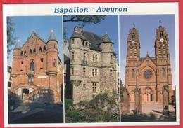 CPM-12-ESPALION -Triptyque -Eglise St-Jean,Musée Du Scaphandre, Vieux Palais *SUP** 2 SCANS - Espalion