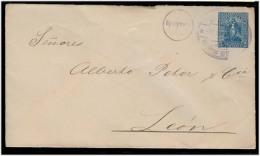 NICARAGUA. 1898 (June). Managua - Leon. 5c Blue Stat Env. Fine Used + Arrival. - Nicaragua
