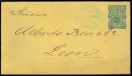 NICARAGUA. 1891 (12 Ago). Momotombo - Leon. 5c Blue / Yellow Stat Env. XF + Arrival Reverse. - Nicaragua