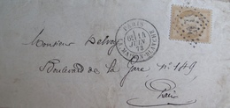 R1712/28 - LETTRE (LAC) - CERES N°59 - PARIS LA MAISON BLANCHE / GC 2170 / INDICE 3 / 14 JUIN 1873 > PARIS - 1871-1875 Ceres