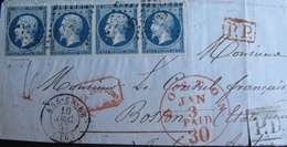R1680/49 - DEVANT DE LETTRE - NAPOLEON III (BANDE DE 4) N°14A - 10 DEC 1857 - PC 139 - COURRIER A DESTINATION DE BOSTON - 1853-1860 Napoleon III