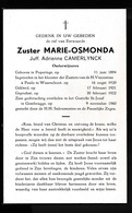 ZUSTER  ADRIENNE CAMERLYNCK  POPERINGE 1894  GENTBRUGGE 1960 - Overlijden