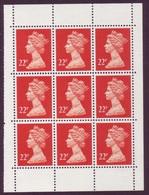 1991 GB Machin Block Of 9 From Booklet - 22p SG X1016 - UM/MNH - 1952-.... (Elizabeth II)