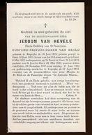 PASTOOR EEKLO - JEROOM VAN HEVELE  KAPRIJKE 1895   1953 - Todesanzeige