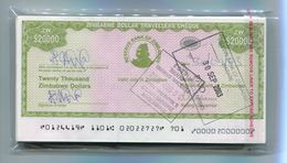 Zimbabwe Dollar Travellers Cheque $20 000 Check 2003 P18 Rare X 100 Pieces B - Zimbabwe