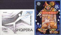 Tanz/Demokratie CEPT 1995 Albania Blocks 104+157 ** 17€ Zirkus M/s Blocs Art Sheets Ss Bf 50 Years EUROPA Shqiperia - Albanie