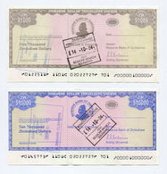 Zimbabwe 2003 2 (P15+P17) Travellers Cheque Set AUNC Rare - Free SHIPPING X 25 SETS - Zimbabwe