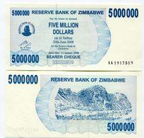 Zimbabwe 2008 P 54 5 Million Dollars Bearer Check UNC Inflation Currency AA - Zimbabwe