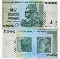 Zimbabwe 50 Million Dollar AA 2008 Banknote UNC P79 - Zimbabwe