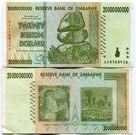 Genuine Zimbabwe 20 Billion Dollars AA 2008 Banknote Circulated - Zimbabwe
