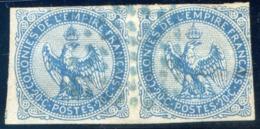 France - Colonie Générale - N°4 Paire - Oblitéré Losange De Point En Bleu - (C146D) - Aigle Impérial