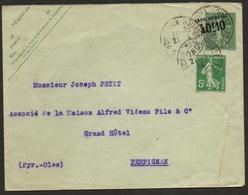 """Seumeuses Sur Entier Postal 15c  Et 5 C Plus Cachet """"taxe Réduite 0,10fr De Bordeaux Pour Perpignan 21/01/1914 - Marcophilie (Lettres)"""