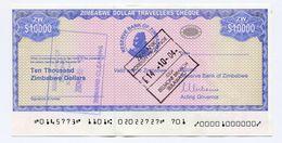 Zimbabwe 2003 P17 $10000 Travellers Cheque 10 000 Dollars AUNC - Zimbabwe